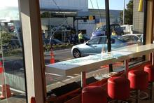 The crash scene at McDonald's in Wairau Valley, Auckland. Photo / Twitter / @roger_nz66