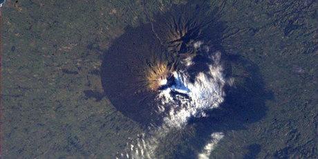 Mt Taranaki, as seen from space. Photo / Twitter