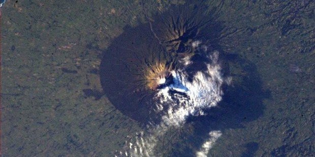Mt Taranaki, as seen from space. Photo / Twitter