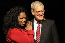 David Letterman and Oprah after their interview at Ball State University in Muncie. Photo/AP