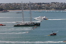 The new Rainbow Warrior sails in to Auckland for the first time, where she was welcomed by Ngati Whatua. Photo / supplied