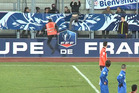When a French steward attempted to apprehend a pitch invader at a Coupe de France match last weekend, the crowd really got their money's worth. Photo / Youtube.