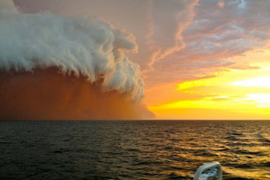 The spectacular haboob which rolled across northwestern Australia and out to the Indian Ocean. Photo / Perth Weather Live/Brett Martin