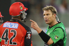Shane Warne of the Melbourne Stars has a heated exchange with Marlon Samuels. Photo / Getty Images