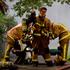 Fire crews at the scene of the blaze. Photo / Richard Robinson