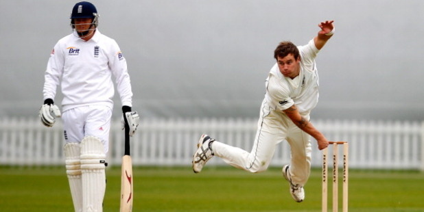 Doug Bracewell bowls during day three of the tour match between England Lions and New Zealand. Photo / Getty
