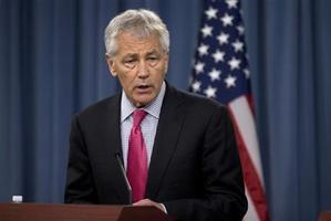 Defence Secretary Chuck Hagel speaks during a joint news conference at the Pentagon. Photo / AP