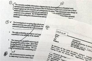 A portion of pages of emails that the White House released today Photo / AP
