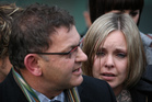 Bryan Guy, with his daughter Anna Macdonald, while addressing media outside the High Court in Wellington. Photo / Greg Bowker