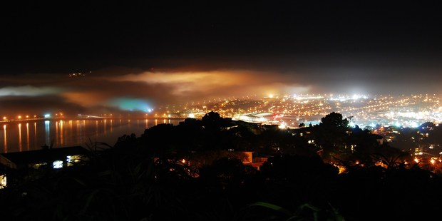 Fog settles in over Wellington Airport last night. Photo / Rowena Brown/Supplied