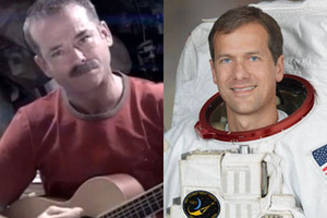 Chris Hadfield (left) and Thomas Marshburn have amassed thousands of fans on social media during their time in space.  Photos / NASA/Twitter