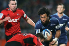 Rene Ranger of the Blues is tackled during the round 14 Super Rugby match between the Crusaders and the Blues. Photo / Getty Images.