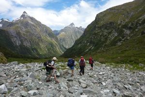 Trampers on Milford Track get their first view of MacKinnon Pass. Photo / DOC