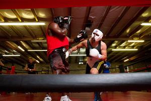 Joseph Parker (right) has impressed sparring partner Friday Ahunanya. Photo / Jenna Dosch