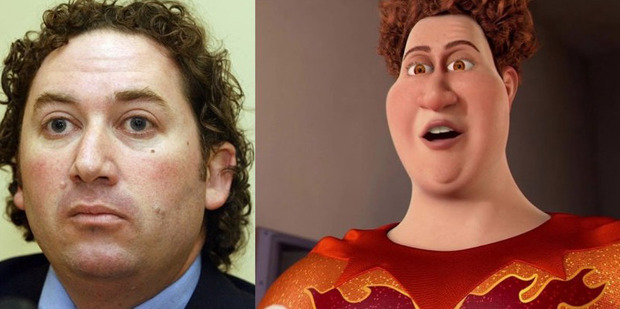 Lookalike: Aaron Gilmore and Titan (the baddie from animated feature  Megamind ). Photo / Supplied