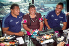Blues rugby players Peter (left) and Francis Saili and their mum Ana have high tea on Mother's Day at Orbit Restaurant at SkyCity. Photo / Natalie Slade
