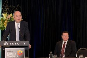 Minister Steven Joyce and SkyCity CEO Nigel Morrison. Photo / Greg Bowker