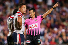 Sydney Roosters prop Jared Waerea-Hargreaves is sent off by referee Matt Cecchin after his high shot on Manly prop George Rose. Photo / Getty Images