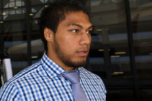 Auckland Blues George Moala leaves Auckland District Court after the call over for an alleged assault. Photo / Greg Bowker