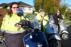 Rebecca, Jenny and Peter Andrews get from A to B quickly on their Vespas. Photo / Peter Calder