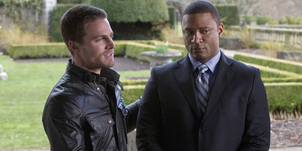 Stephen Amell and David Ramsey in 'Arrow'. Photo / Supplied