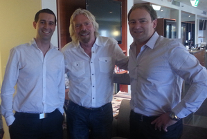 FaceMe chief technology officer Danny Tomsett, from left, Sir Richard Branson and FaceMe chief executive Mark Christensen. Photo / Supplied
