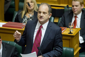 David Shearer responds after the reading of the Budget. Photo / Mark Mitchell