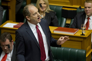 Opposition leader David Shearer responding after the reading of the Budget, Photo / Mark Mitchell