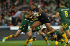 Frank Pritchard of the Kiwis is tackled during the ANZAC Test match between the Australian Kangaroos and the New Zealand Kiwis. Photo / Getty Images