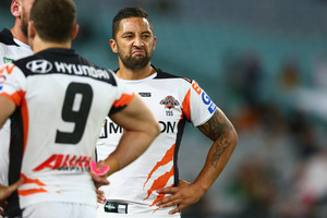A dejected Benji Marshall after another Rabbitohs try. Photo / Getty Images