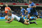 Riaan Viljoen of the Sharks touches down against the Force. Photo / Getty Images