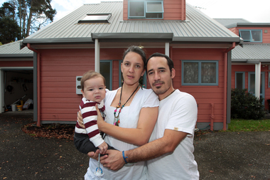 Maria Moran, Alejo Ramirez and baby Benicio are house-hunting in Avondale. Photo / Doug Sherring