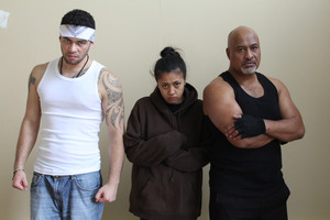 The Ariki family in Patua, from left, Vinnie Bennett (T), Ngahuia Piripi (Sissy), William Davis (Helsy). Photo / Supplied