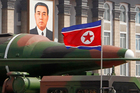 File photo of what appears to be a new missile is carried during a mass military parade at the Kim Il Sung Square in Pyongyang, North Korea. Photo / AP