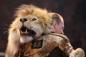 Oleksiy Pinko, a circus artist, dances with a lion during presentation of the new program in Ukraine's National Circus in Kiev, Ukraine, on Wednesday. Photo / AP