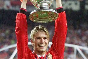 David Beckham celebrates Man U's defeat of Bayern Munich in 1999. Photo / AP
