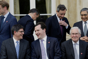 Those attending the G7 meeting included Lew Jacob, George Osborne and Mervyn King. Photo / AP