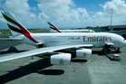 Two Emirates A380 super jumbos arrive at Auckland International Airport last year. Photo / Dean Purcell