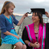 Victoria University international relations masters degree graduate Sarah Bradley with her nine-year-old daughter, Melinda, in Petone. Photo / Mark Mitchell