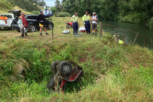 The number of quad bike accidents - including this one at Matamata - is 'alarming' says a doctor at Waikato Hospital. Photo / TrustPower TECT Rescue Helicopter