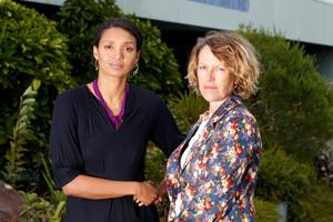 Residents Anita Aggrey and Sue Lyons at the proposed site for a new Bunnings Warehouse. Photo / Chris Gorman