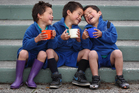 Triplets (from left) Kawa, Noah and Kingi Grey have been happy members of the Malfroy School Breakfast Club in Rotorua. Photo / APN