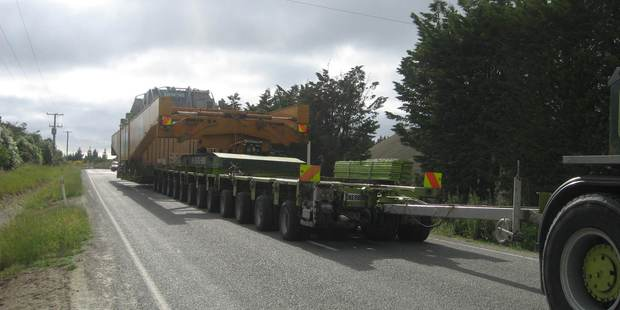 The first of the HVDC Pole 3 project transformers being move to Benmore in 2011. Photo / Oamaru Mail