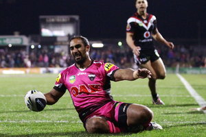 Travis Robinson of the Panthers scores in the corner during the round 10 NRL match between the Penrith Panthers and the New Zealand Warriors. Photo / Getty Images.