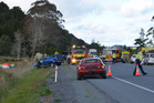 Emergency services at the scene on State Highway 1 in Hukerenui, north of Whangerei. Photo / Chris Hoffmann