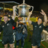 Aaron Mauger and Howlett with the Bledisloe Cup, after their win against the Wallabies in 2003. Photo / Brett Phibbs
