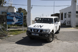 UN military drive a vehicle in the Golan Heights region. Photo / Getty Images