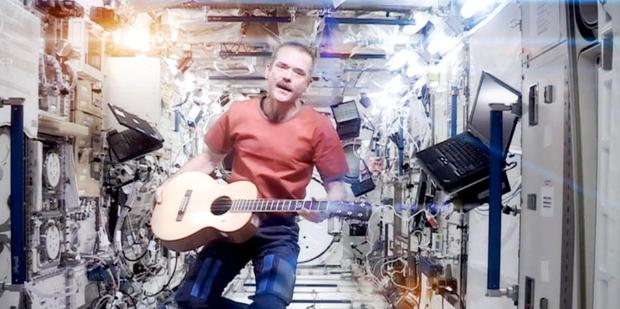 Chris Hadfield in his cover of Space Oddity, shot and recorded in space. Photo / Supplied