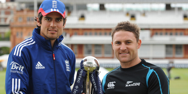 Loading Opposing captains Alastair Cook and Brendon McCullum pose with the test series trophy at Lord's Cricket Ground. Photo / Getty Images