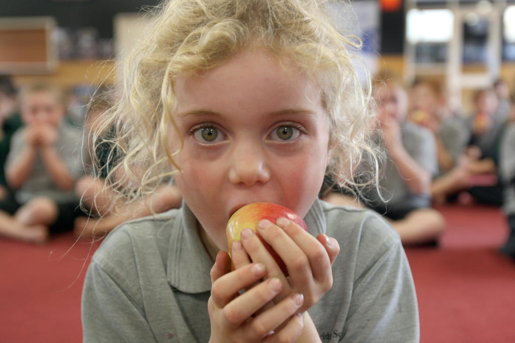 wta100513lfcrunch.jpg The Big Crunch - an attempt on the world record for the most people eating an apple simultaneously at Fernridge School. Awatea Carswell, 6.